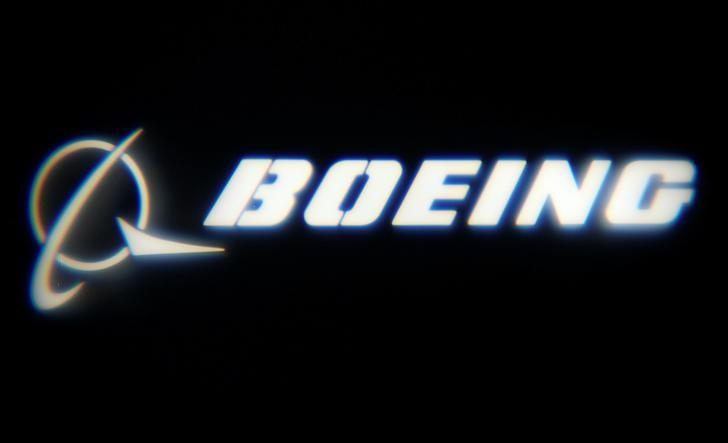 The Boeing Company logo is projected on a wall at the ''What's Next?'' conference in Chicago, Illinois, U.S., October 4, 2016.    REUTERS/Jim Young
