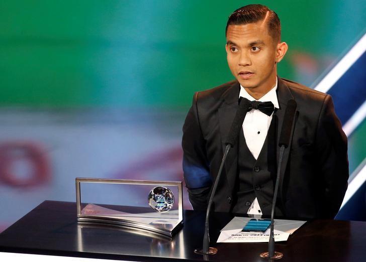 Malaysian footballer Mohd Faiz Subri attends the Best FIFA Football Awards in Zurich, Switzerland January 9, 2017.  REUTERS/Ruben Sprich