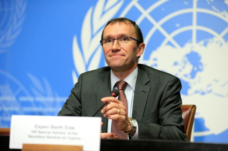 U.N. Special Advisor on Cyprus Espen Barth Eide speaks during a news conference in Geneva, Switzerland January 11, 2017. REUTERS/Pierre Albouy - RTX2YHG4