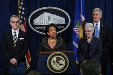 U.S. Attorney General Loretta Lynch speaks during a news conference accompanied by EPA Administrator Gina McCarthy, FBI Deputy Director Andrew McCabe and Acting Deputy Secretary Russell Deyo (for the Department of Homeland Security) in Washington U.S., January 11, 2017. REUTERS/Carlos Barria
