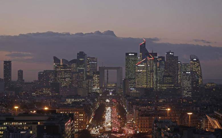 The financial district of La Defense is seen at dusk near Paris, France, January 5, 2017. REUTERS/Christian Hartmann