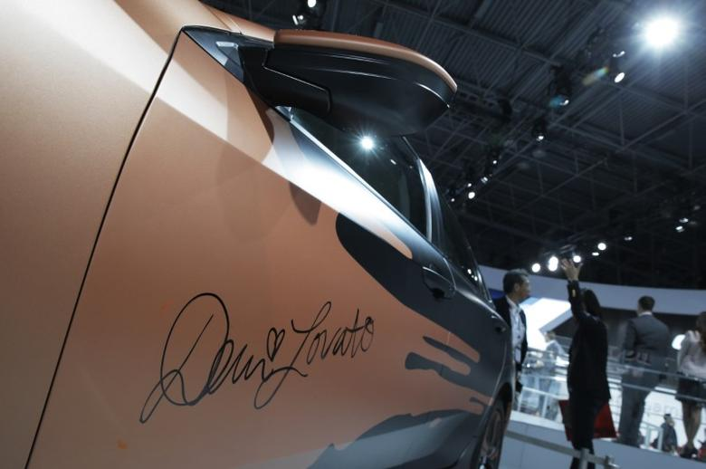 The Honda customized Demi Lovato Civic Sedan is seen during the media preview of the 2016 New York International Auto Show in Manhattan, New York March 24, 2016.   REUTERS/Brendan McDermid