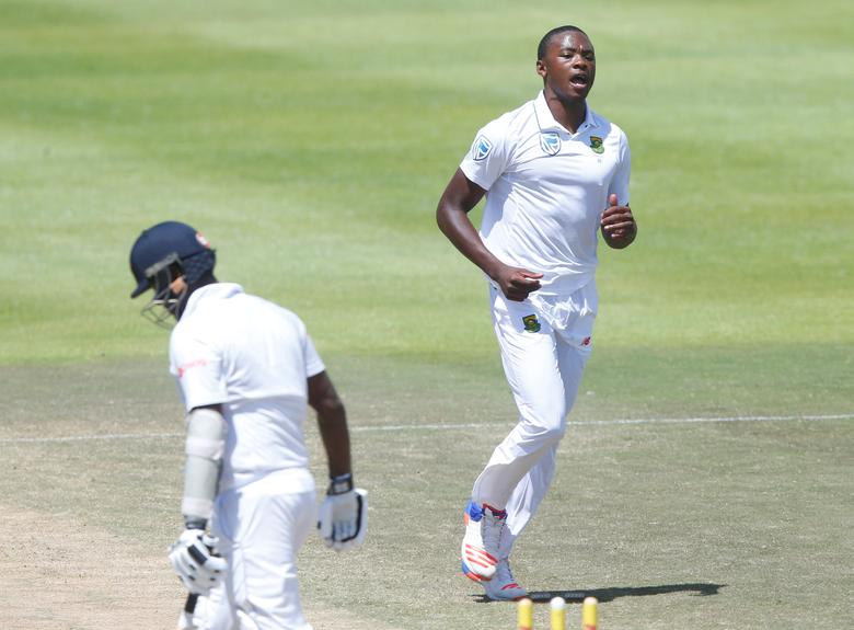 South Africa's Kagiso Rabada celebrates as he takes the wicket of Sri Lanka's Angelo Mathews. REUTERS/Mike Hutchings