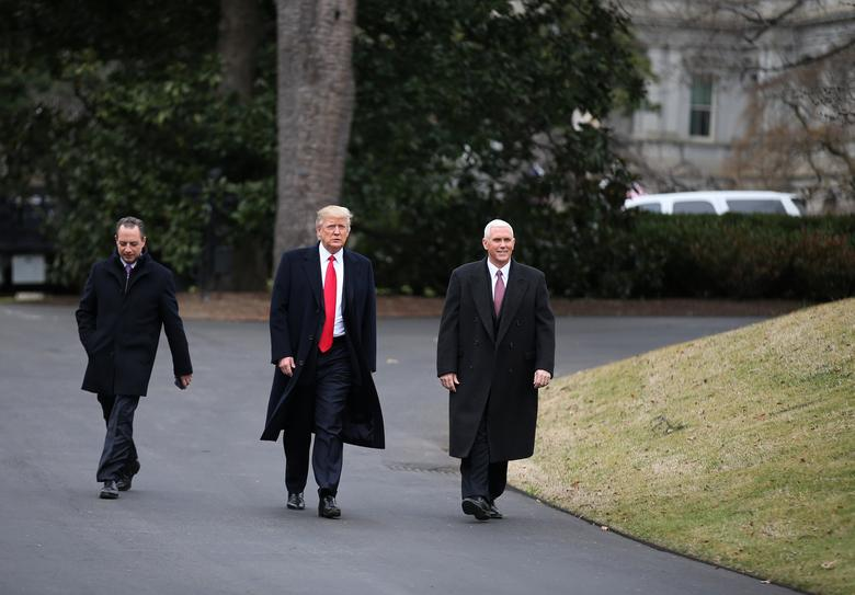 U.S. President Donald Trump (C), Vice President Mike Pence (R) and White House Chief of Staff Reince Priebus arrive to meet Harley Davidson executives at the South Lawn of the White House in Washington U.S., February 2, 2017. REUTERS/Carlos Barria -