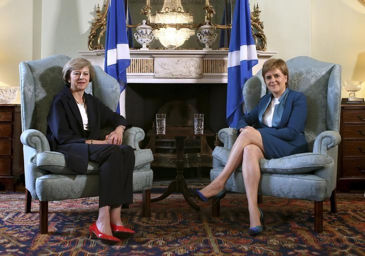 New British Prime Minister Theresa May meeting First Minister of Scotland, Nicola Sturgeon at Bute House in Edinburgh, Scotland, July 15, 2016. REUTERS/James Glossop