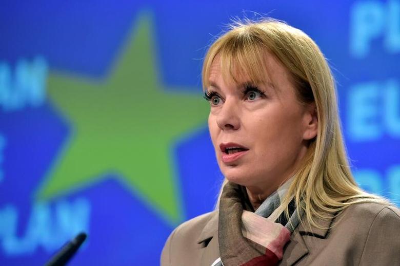 EU Industry Commissioner Elzbieta Bienkowska holds a news conference  in Brussels, Belgium November 30, 2016. REUTERS/Eric Vidal