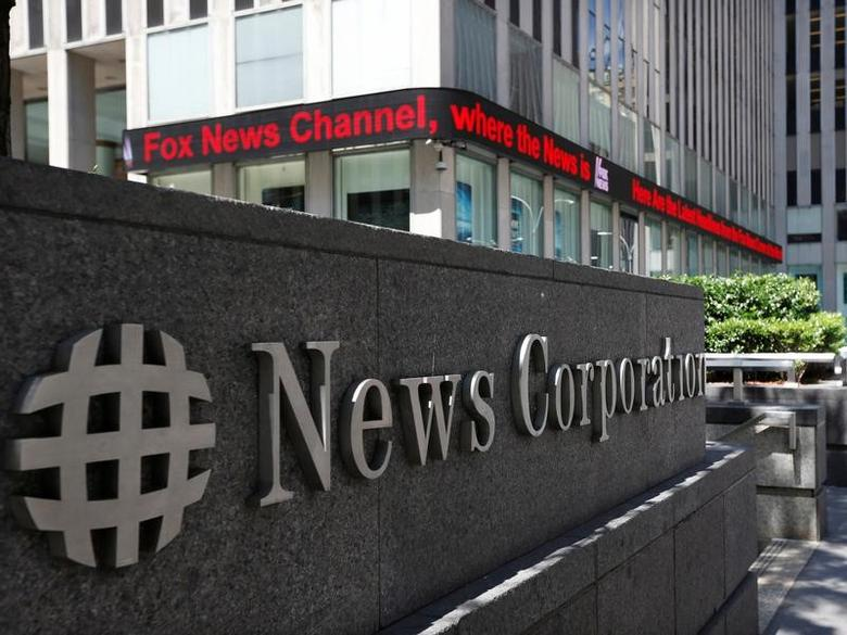A sign is seen outside News Corporation building in New York, June 27, 2012.  REUTERS/Brendan McDermid/File Photo