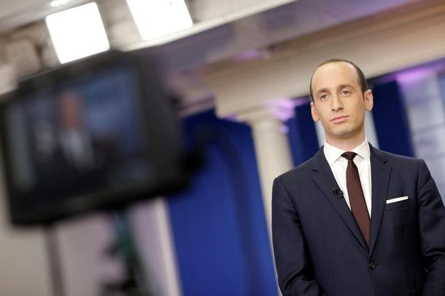 Senior White House Advisor Stephen Miller waits to go on the air in the White House Briefing Room in Washington, U.S., February 12, 2017.  REUTERS/Joshua Roberts