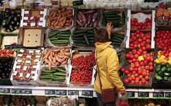 La economía de la zona euro creció menos de lo estimado inicialmente en el último trimestre del año pasado, debido a que la producción industrial registró su peor bajada en más de cuatro años en diciembre, mostraron el martes estimaciones de la oficina de estadística europea Eurostat.  En la imagen de archivo, una mujer mirando verduras en un supermercado de Berlín, el 31 de enero de 2013. REUTERS/Fabrizio Bensch