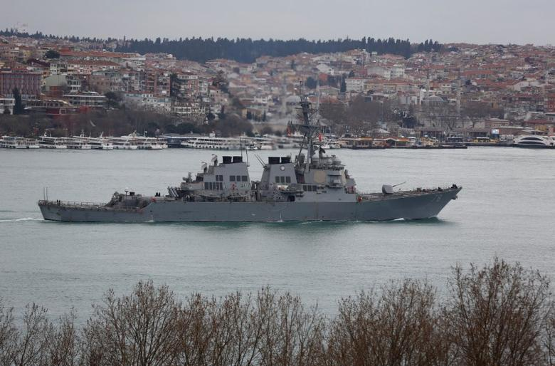 U.S. Navy guided-missile destroyer USS Porter sails in the Bosphorus, on its way to the Mediterranean Sea, in Istanbul, Turkey, February 11, 2017. REUTERS/Murad Sezer