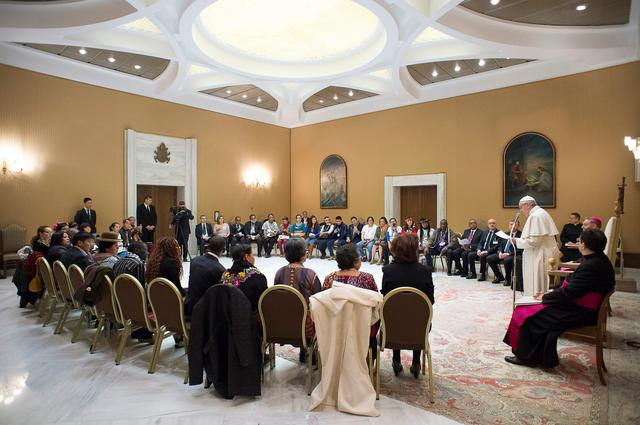 Pope Francis speaks during a meeting with indigenous people to mark the 40th governing council of the the International Fund for Agricultural Development (IFAD) at the Vatican February 15, 2017. Osservatore Romano/Handout via REUTERS