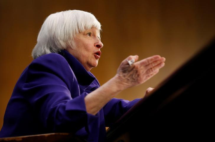 """Federal Reserve Chair Janet Yellen testifies before a Senate Banking, Housing, and Urban Affairs Committee hearing on the """"Semiannual Monetary Policy Report to the Congress"""" on Capitol Hill in Washington, U.S., February 14, 2017. REUTERS/Joshua Roberts/Files"""