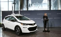 FILE PHOTO --  General Motors Chairman and CEO Mary Barra announces that Chevrolet will begin testing a fleet of Bolt autonomous vehicles in Michigan during a news conference in Detroit, Michigan, U.S., December 15, 2016.  REUTERS/Rebecca Cook/File Photo
