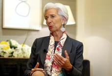 IMF Managing Director Christine Lagarde gestures during an interview with Reuters in Dubai, United Arab Emirates February 13, 2017. REUTERS/Stringer