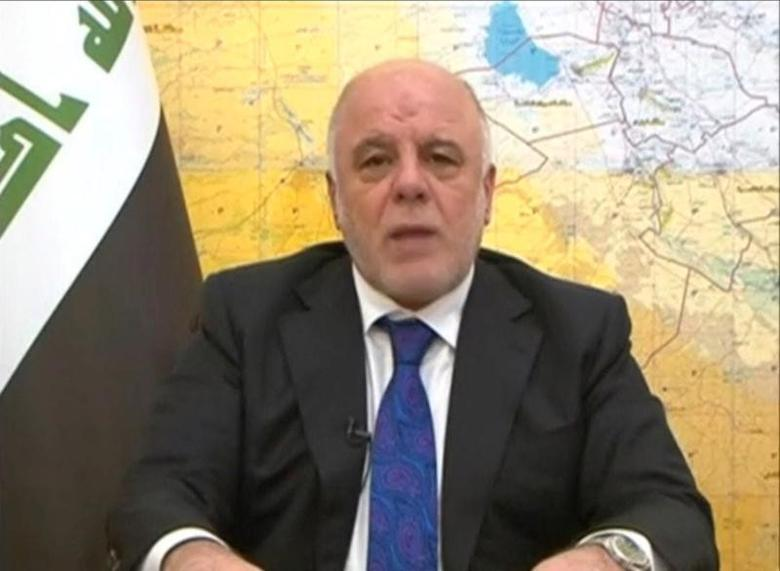 Iraq's Prime Minister Haiber al-Abadi announces the start of an offensive to retake the western side of Mosul as troops begin to move towards Islamic State, in this still image from video by Iraqiya TV February 19, 2017.  Iraqiya TV/via Reuters TV