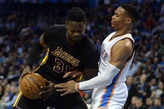 2月24日、NBAのサンダーはレーカーズに110─93で快勝。ラッセル・ウエストブルック(右)が17得点、18リバウンド、17アシストでトリプルダブルの活躍を見せた(2017年 ロイター/Mark D. Smith-USA TODAY Sports)