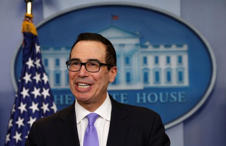 U.S. Treasury Secretary Steven Mnuchin speaks at a press briefing at the White House in Washington, U.S., February 14, 2017.  REUTERS/Kevin Lamarque/Files