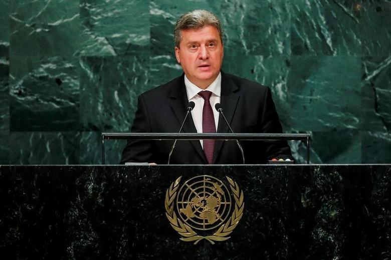 Macedonian President Gjorge Ivanov   in the Manhattan borough of New York, U.S., September 22, 2016.  REUTERS/Eduardo Munoz