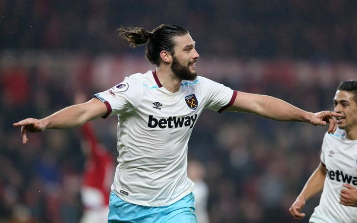 Britain Soccer Football - Middlesbrough v West Ham United - Premier League - The Riverside Stadium - 21/1/17 West Ham United's Andy Carroll celebrates scoring their second goal  Reuters / Scott Heppell Livepic/Files
