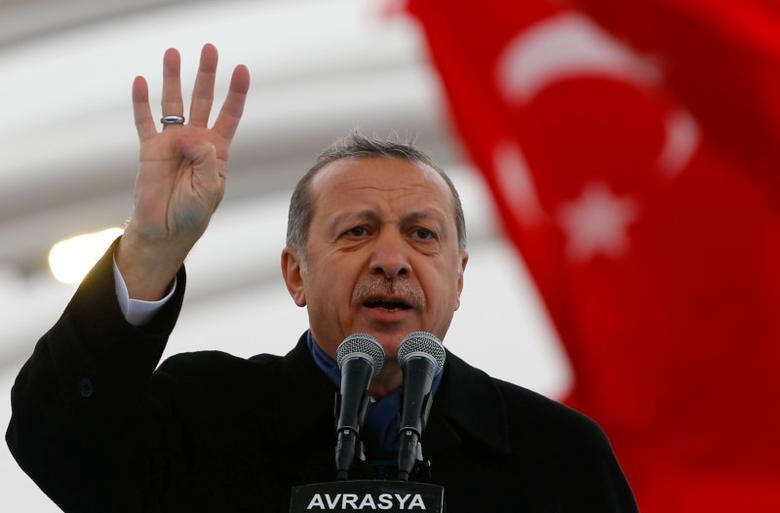 Turkish President Tayyip Erdogan makes a speech during the opening ceremony of Eurasia Tunnel in Istanbul, Turkey, December 20, 2016. REUTERS/Murad Sezer/Files