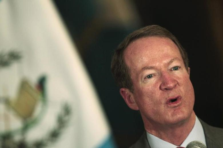 U.S. Assistant Secretary of State for International Narcotics and Law Enforcement Affairs William Brownfield speaks in a news conference after a  meeting with Guatemalan President Otto Perez Molina, in the Presidential House of Guatemala City, March 27, 2012.  REUTERS/Jorge Dan Lopez