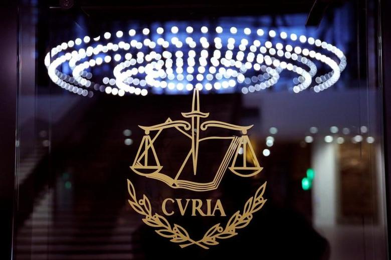 The logo of the European Court of Justice is pictured outside the main courtroom in Luxembourg January 26, 2017. Picture taken January 26, 2017. REUTERS/Francois Lenoir