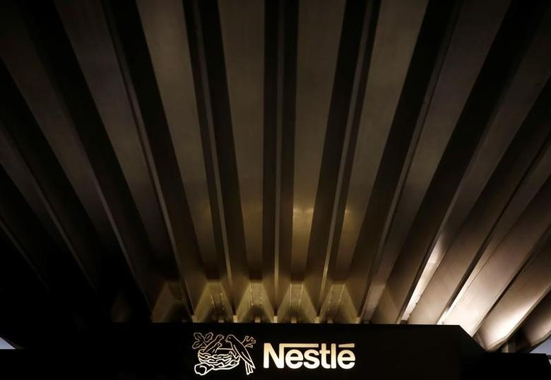 A Nestle logo is pictured on the company headquarters in Vevey, Switzerland, October 20, 2016. REUTERS/Denis Balibouse