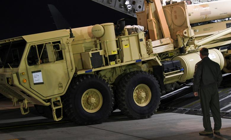 A Terminal High Altitude Area Defense (THAAD) interceptor arrives at Osan Air Base in Pyeongtaek, South Korea, in this handout picture provided by the United States Forces Korea (USFK) and released by Yonhap on March 7, 2017. Picture taken on March 6, 2017.    USFK/Yonhap via REUTERS   ATTENTION EDITORS - THIS IMAGE HAS BEEN SUPPLIED BY A THIRD PARTY. SOUTH KOREA OUT. FOR EDITORIAL USE ONLY. NO RESALES. NO ARCHIVE.