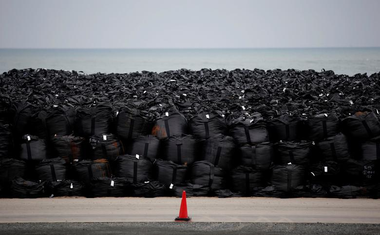 FILE PHOTO - Big black plastic bags containing radiated soil, leaves and debris from the decontamination operation are dumped at a seaside, devastated by the March 11, 2011 earthquake and tsunami in Tomioka town, Fukushima prefecture, near Tokyo Electric Power Co's (TEPCO) tsunami-crippled Fukushima Daiichi nuclear power plant February 22, 2015.   REUTERS/Toru Hanai/File Photo