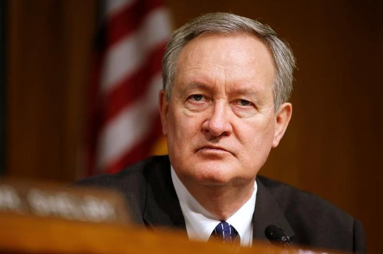 """Chairman of the Senate Banking, Housing, and Urban Affairs Committee Mike Crapo (R-ID) hearing listens to testimony from Federal Reserve Chairman Janet Yellen on the """"Semiannual Monetary Policy Report to the Congress"""" on Capitol Hill in Washington, U.S., February 14, 2017.      REUTERS/Joshua Roberts"""