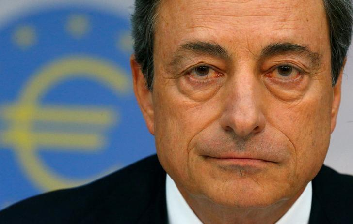FILE PHOTO:  European Central Bank (ECB) President Mario Draghi speaks during the bank's monthly news conference in Frankfurt, Germany, August 7, 2014.     REUTERS/Ralph Orlowski/File Photo