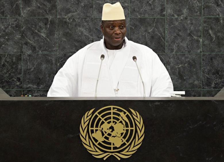 FILE PHOTO: Gambian President Yahya Jammeh addresses the 68th United Nations General Assembly at U.N. headquarters in New York, September 27, 2013.            REUTERS/Andrew Burton/Pool/File Photo