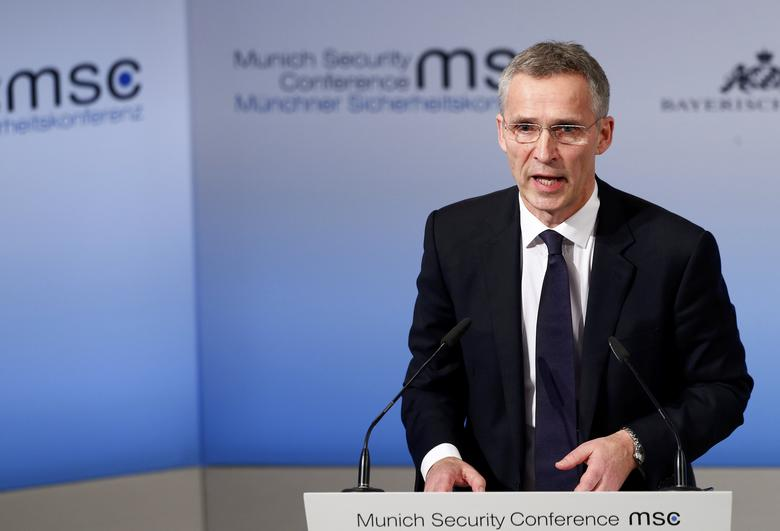 NATO Secretary-General Jens Stoltenberg delivers his speech during the 53rd Munich Security Conference in Munich, Germany, February 18, 2017. REUTERS/Michaela Rehle