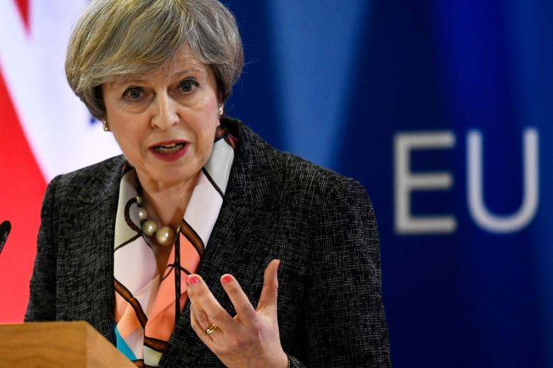 Britain's Prime Minister Theresa May attends a news conference during the EU Summit in Brussels, Belgium, March 9, 2017. REUTERS/Dylan Martinez - RTS127CU