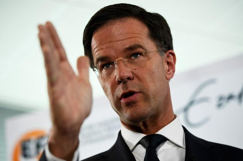 Dutch Prime Minister Mark Rutte of the VVD Liberal party attends a news conference during campaigning for the Dutch elections in Rotterdam, Netherlands, March 13, 2017. REUTERS/Dylan Martinez