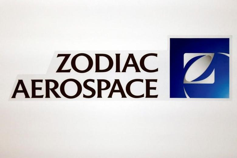 FILE PHOTO: The logo of French aircraft seats and equipment manufacturer Zodiac Aerospace is seen during the company's first half of the 2015/2016 fiscal year presentation in Paris, France, April 20, 2016.  REUTERS/Benoit Tessier/File Photo