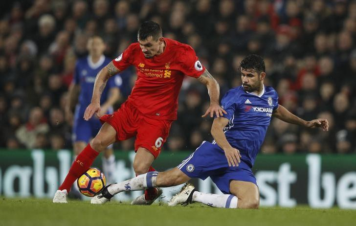 Britain Football Soccer - Liverpool v Chelsea - Premier League - Anfield - 31/1/17 Liverpool's Dejan Lovren in action with Chelsea's Diego Costa  Reuters / Phil Noble Livepic