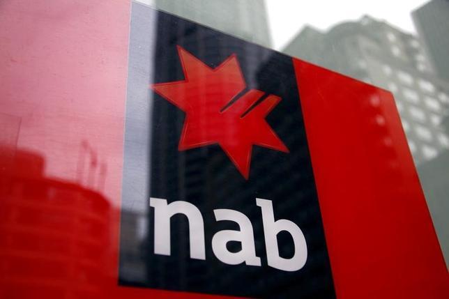 3月16日、豪ナショナル・オーストラリア銀行(NAB)は、持ち家と投資用不動産の住宅ローン金利を引き上げたと発表した。写真は同行のロゴ。シドニーで2014年9月撮影(2017年 ロイター/David Gray)