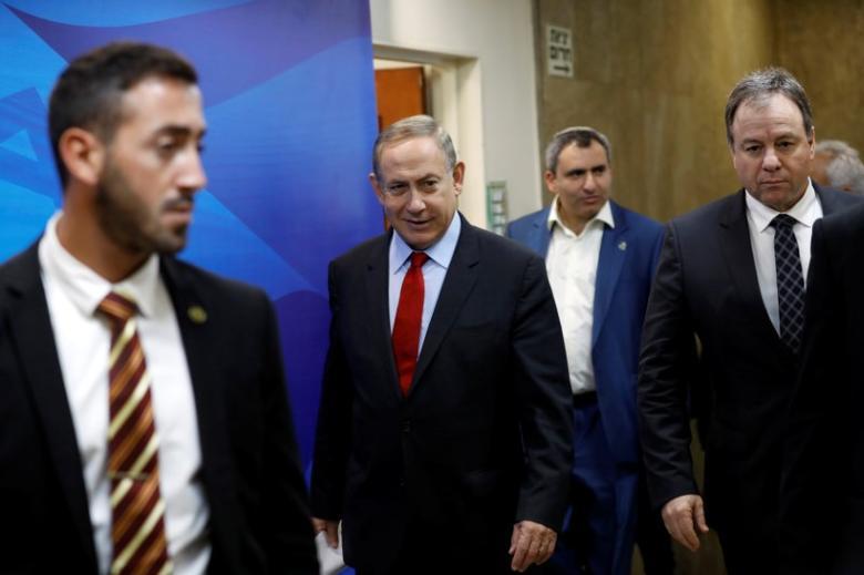 Israeli Prime Minister Benjamin Netanyahu arrives to a cabinet meeting in Jerusalem March 16, 2017. REUTERS/Amir Cohen