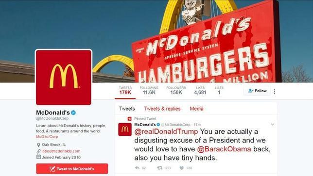 3月16日、米ファストフード大手マクドナルドは、同社の公式ツイッター・アカウントがハッキングされ、トランプ米大統領を批判するツイートが送信されたと発表した。写真は問題となったツイート画面(2017年 ロイター/Reuter TV)