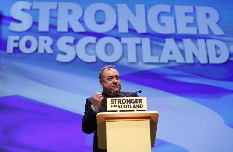 Alex Salmond makes his speech at the Scottish National Party (SNP) conference in Glasgow Scotland, Britain October 14, 2016. REUTERS/Russell Cheyne