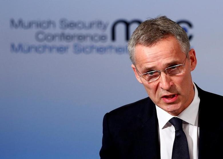 NATO Secretary-General Jens Stoltenberg delivers his speech during the 53rd Munich Security Conference in Munich, Germany, February 18, 2017. REUTERS/Michaela Rehle/File Photo