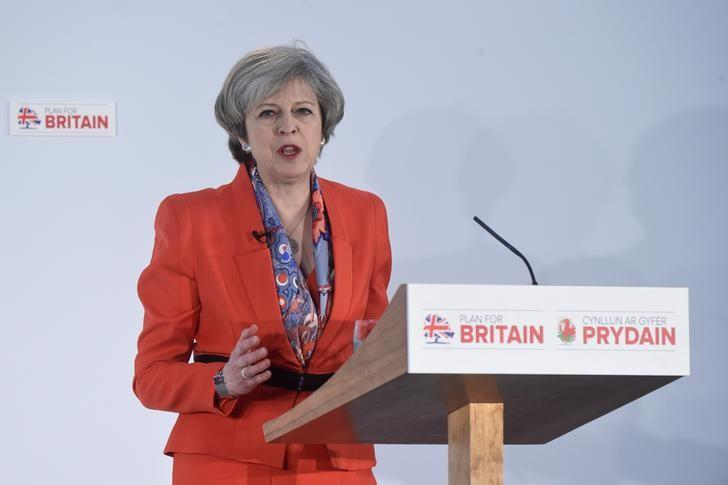 Britain's Prime Minister Theresa May speaks at the Conservative Party's Spring Forum in Cardiff, Wales, March 17, 2017. REUTERS/Rebecca Naden