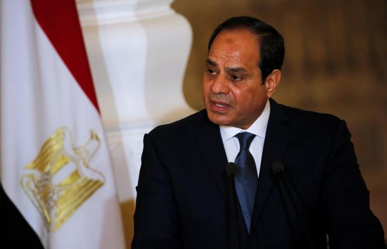 Egypt's President Abdel Fattah al-Sisi speaks during a news conference with German Chancellor Angela Merkel (unseen) at the El-Thadiya presidential palace in Cairo, Egypt, March 2, 2017. REUTERS/Amr Abdallah Dalsh