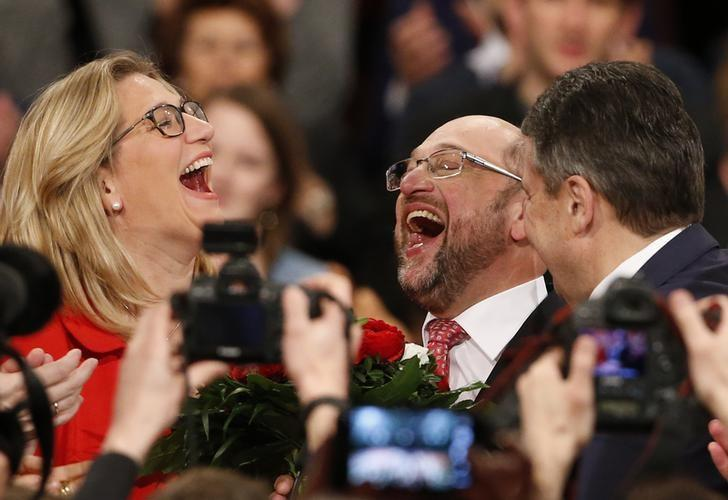 Martin Schulz reacts after he was elected new Social Democratic Party (SPD) leader during an SPD party convention in Berlin, Germany, March 19, 2017.       REUTERS/Fabrizio Bensch    TPX IMAGES OF THE DAY