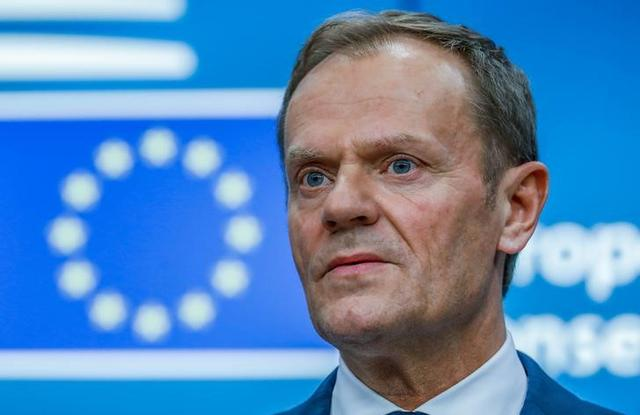FILE PHOTO - European Council President Donald Tusk takes part in a news conference after being reappointed chairman of the European Council during a EU summit in Brussels, Belgium, March 9, 2017. REUTERS/Yves Herman/File Photo