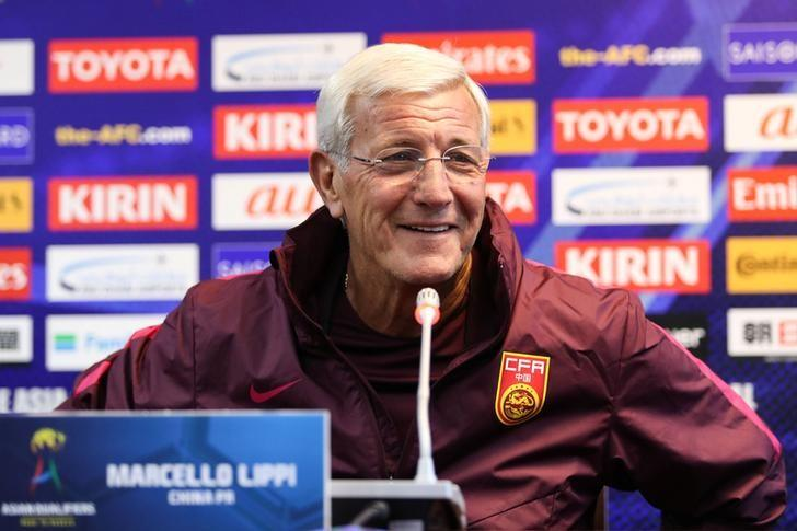 Coach of Chinese national team Marcello Lippi attends a news conference ahead of China's World Cup Qualifier match against Qatar, in Kunming, Yunnan province, China, November 14, 2016. Picture taken November 14, 2016. REUTERS/Stringer/Files
