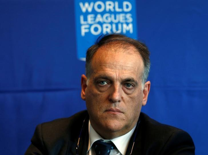 Spain's professional football league (LFP) president Javier Tebas, listens during a news conference after attending the World Leagues Forum in Mexico City, Mexico May 11, 2016. REUTERS/Henry Romero