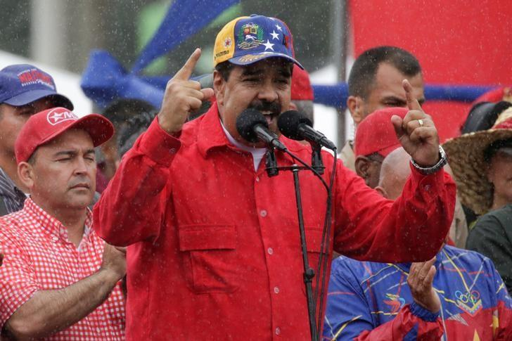 Venezuela's President Nicolas Maduro speaks during a pro-government rally in Caracas, Venezuela March 9, 2017. REUTERS/Marco Bello