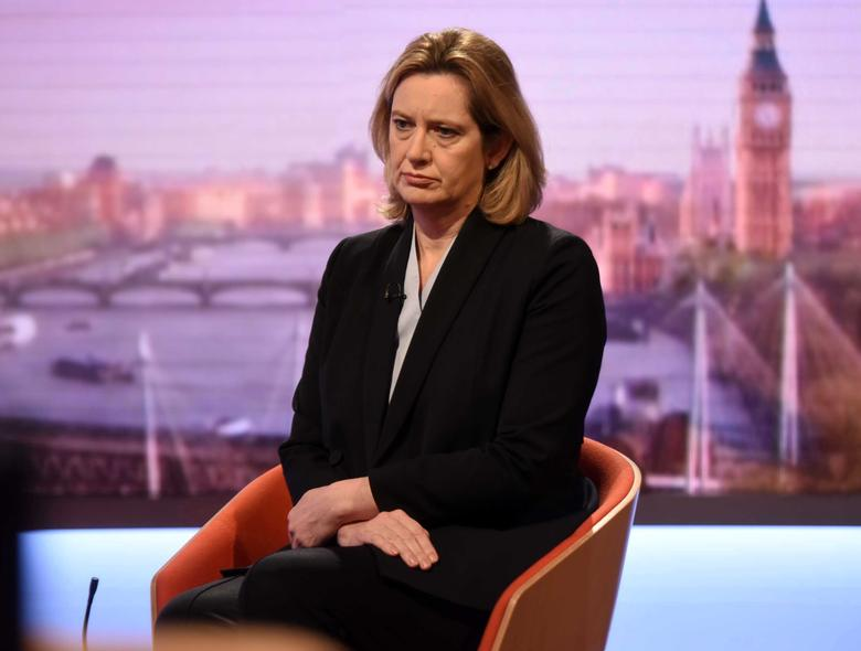 Britain's Home Secretary Amber Rudd is seen appearing on the BBC's Andrew Marr Show in this photograph received via the BBC in London, Britain March 26, 2017. Jeff Overs/BBC/Handout via REUTERS